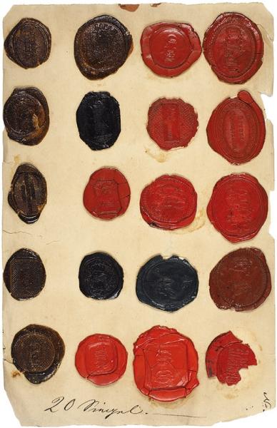 Кабинет-коллекция из125 сургучных печатей, личных иобщественных. XIXв.